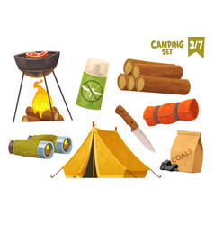 barbecue binoculars tent knife camp mat mosquito vector image