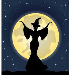 beautiful witch standing on background of the moon vector image