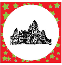 Black 8-bit angkor wat isolated vector