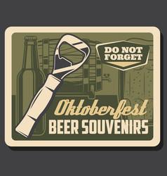 bottle opener mug and barrel beer oktoberfest vector image