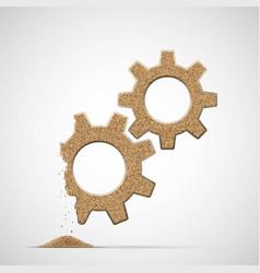 Broken gears made of sand vector