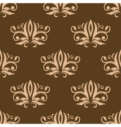 Brown and beige seamless arabesque pattern vector