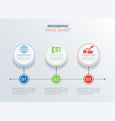 Business infographics template 3 data with circle vector