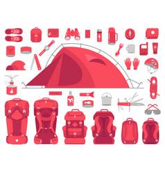 camping equipment set mountain hike kit trekking vector image