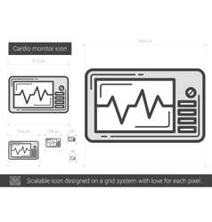 Cardio monitor line icon vector