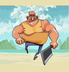 cartoon muscular man running with an ax in his vector image