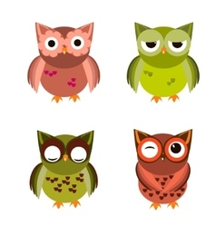 Cartoon owl set vector