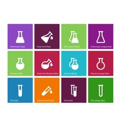 Chemical laboratory flask icons on color vector