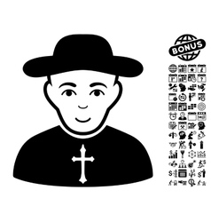 Christian Priest Flat Icon With Bonus vector image