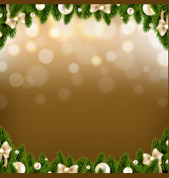 christmas border with golden background with balls vector image