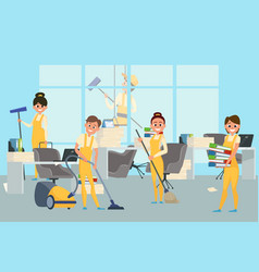 cleaning staff team in office vector image
