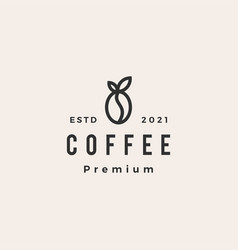 coffee bean leaf hipster vintage logo icon vector image