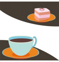 coffee with cake vector image