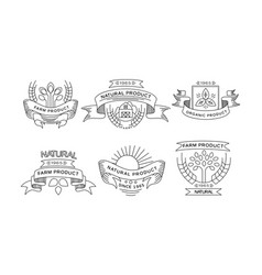 collection farm products logos retro labels vector image