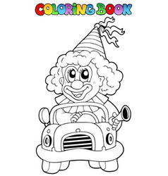 Coloring book with clown in car vector