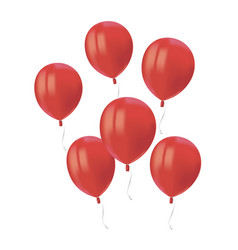 composition of realistic air flying red balloons vector image