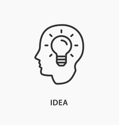 Creative brain idea icon on white background vector