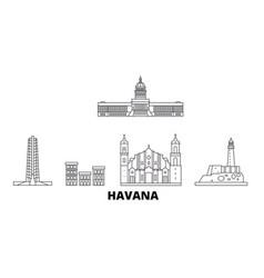 Cuba havana line travel skyline set cuba havana vector