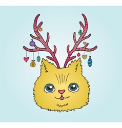 Cute cartoon Christmas cat with deer horns vector image
