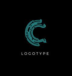 Cyber letter c for digital technology logo concept vector