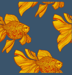 dark colored goldlfish pattern in hand-drawn style vector image