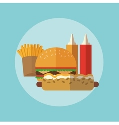 Delicius food Hamburger and Hot dog graphic vector