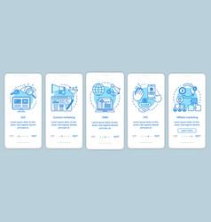 Digital marketing tactics blue onboarding mobile vector