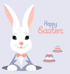 Easter bunny and paschal egg looks out of the hole vector