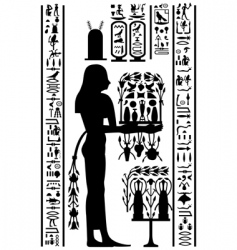 Egyptian hieroglyphs and fresco vector