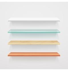 Empty wood glass metal plastic shelves vector image