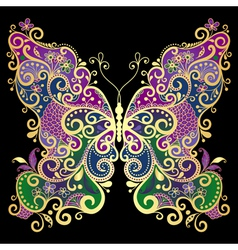 Fantasy gold-colorful butterfly vector