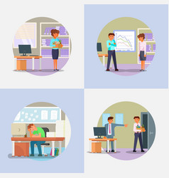 fired people icon set flat vector image