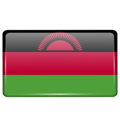 Flags Malawi in the form of a magnet on vector