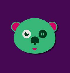 Flat icon design teddy bear face in sticker style vector