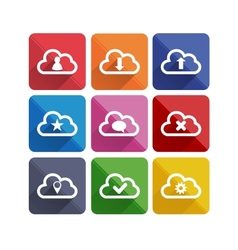 Flat long shadow cloud icons vector