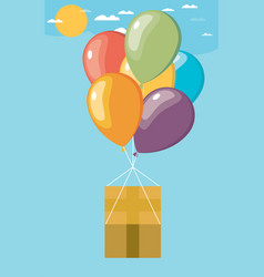 Flat modern on cardboard box with balloons flying vector