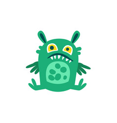 funny green cartoon monster sitting on the floor vector image