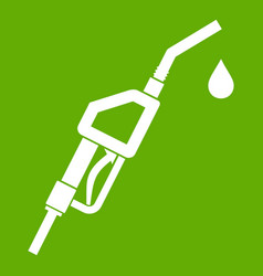 Gasoline pump nozzle icon green vector