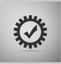 gear with check mark icon on grey background vector image