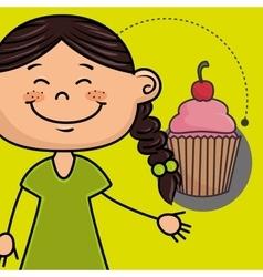 Girl cup cake bakery vector