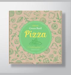 Green basil pizza realistic cardboard box vector
