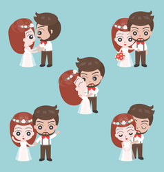 groom and bride cute character for use as wedding vector image