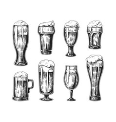 Hand drawn beer glasses vintage ink drawing of vector