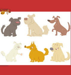 happy dogs cartoon characters vector image