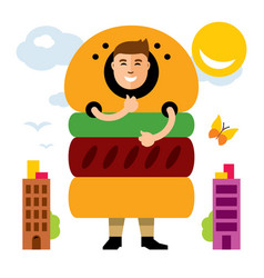 Happy hipster man in hamburger flat style vector