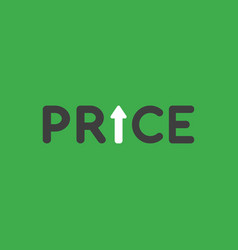 Icon concept of price word with arrow moving up vector