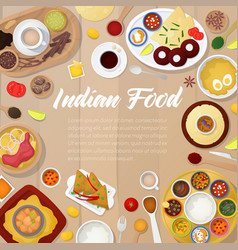 indian cuisine menu template with chicken rice vector image vector image