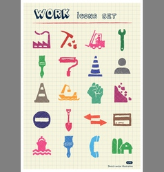 Industrial work and repair web icons set vector image