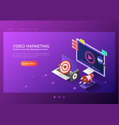 isometric web banner online video content vector image
