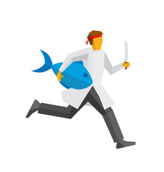 Japanese chef runs with knife and giant fish vector
